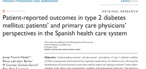 Franch-Nadal J, Labrador Barba E, Gómez-García MC, Buil-Cosiales P, Millaruelo JM, Peña MLO. Patient-reported outcomes in type 2 diabetes mellitus: patients' and primary care physicians' perspectives in the Spanish health care system. Patient Prefer Adherence. 2015;9:1413-22.  PMID: 26504375