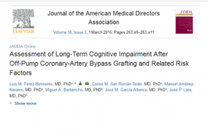 Pérez-Belmonte LM, San Román-Terán CM, Jiménez-Navarro M, Barbancho MA, García-Alberca JM, Lara JP. Assessment of long-term cognitive impairment after off-pump coronary-artery bypass grafting and related risk factors. J Am Med Dir Assoc. marzo de 2015;16(3):263.e9-11. PMID: 25648462