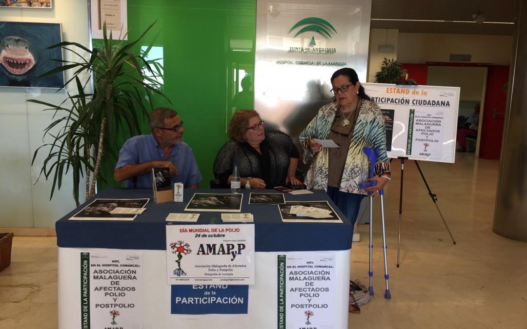 El Área Sanitaria Málaga-Axarquía colabora con la Asociación Malagueña de Afectados de Polio y Postpolio en la promoción del Día Mundial de la Polio