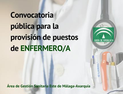 Convocatoria pública para la provisión de puestos de enfermero/a