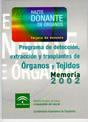 Portada de la Memoria 2002 del Programa de detecci�n, extracci�n y trasplantes de �rganos y tejidos