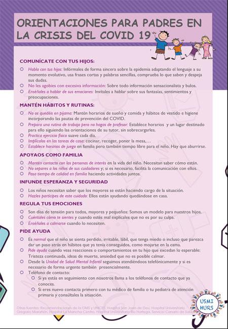 Orientaciones para padres en la crisis del COVID 19