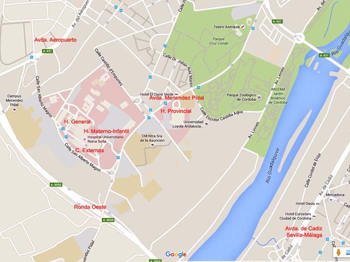 Mapa acceso al complejo Reina Sofia