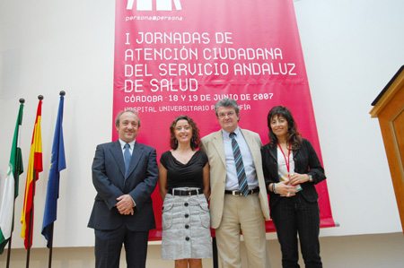 En la foto, de izquierda a derecha, el director gerente del hospital Reina Sofía, José Manuel Aranda; la delegada de Salud, Mª Isabel Baena; el director general de Asistencia Sanitaria del SAS, Joaquín Carmona y la directora regional de Atención Ciudadana, Marisa Dotor Gracia.
