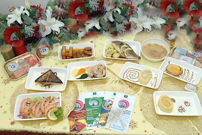 Algunos de los platos que degustarán los pacientes del Hospital Reina Sofía estos días festivos