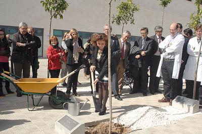 Mª Isabel Baena contribuye de manera simbólica a la plantación de uno de los naranjos