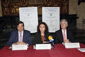 Enrique Aranda, María Isabel Baena y Ángel Salvatierra en la presentación de la reunión de consenso