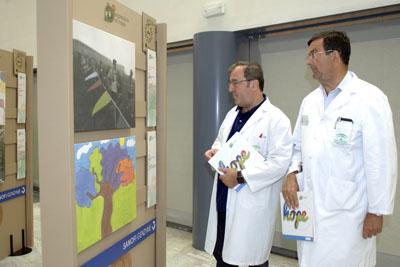 Los doctores Camino y Fernández de la Puebla observan las obras de arte de los pacientes