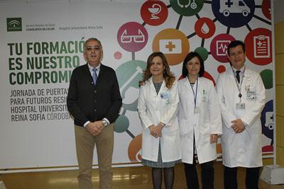 De izquierda a decha: El decano de Medicina y Enfermería, la directora gerente, la jefa de estudios y el director científico del IMIBIC
