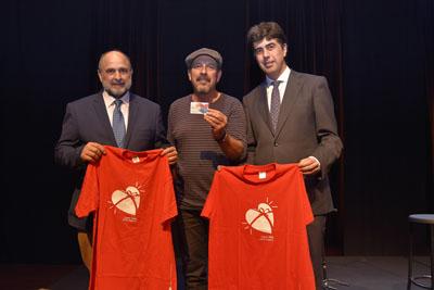 Antonio Llergo, Javier Ruibal y José María Dueñas en la Sala Polifemo del Teatro Góngora