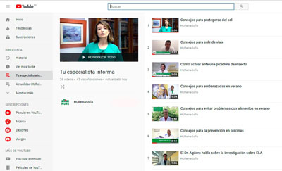 En la imagen, captura de pantalla del canal de Youtube del Hospital