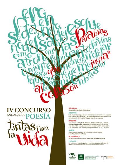 Cartel IV Concurso Andaluz de Poesía 'Tintas para la Vida'