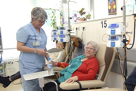 Hospital de día, enfermeras realizando su trabajo