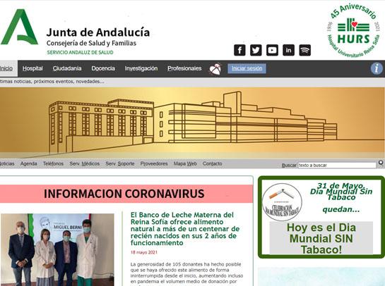 Página principal web Hospital Universitario Reina Sofía (Córdoba)