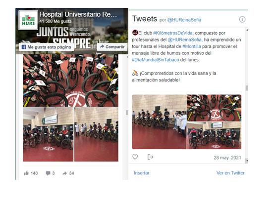 Tour con salida desde el Hospital Universitario Reina Sofía y llegada al Hospital de Montilla, distancia aproximada 43 km