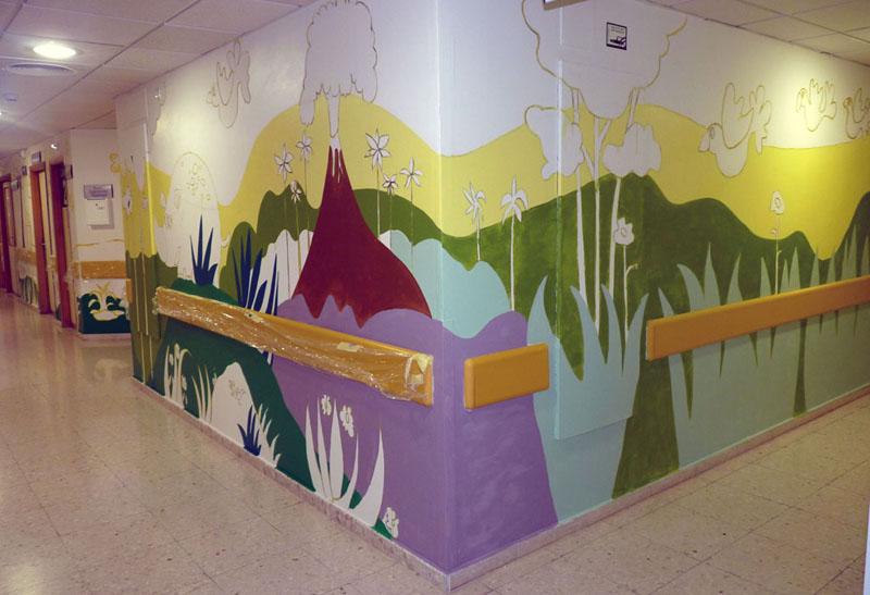 Mural del rinoceronte y el volcán
