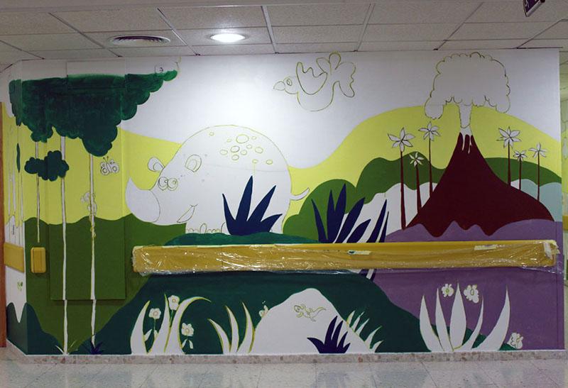 Mural del volcán y el rinoceronte
