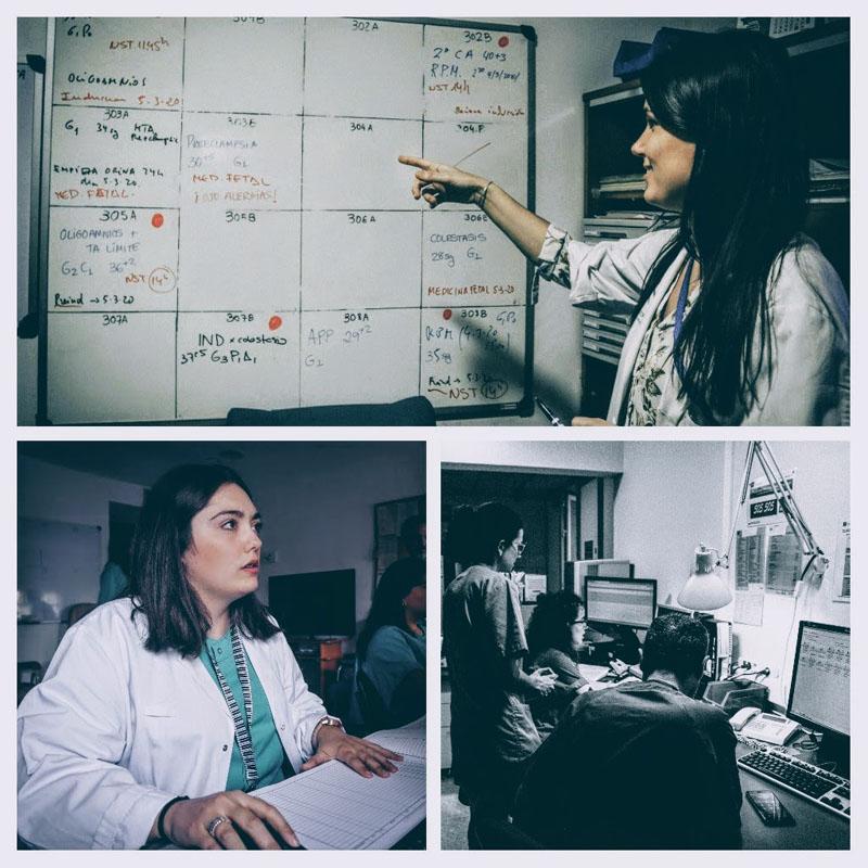 Personal Facultativo realizando diferentes labores en paritorio y planta obstetricia.