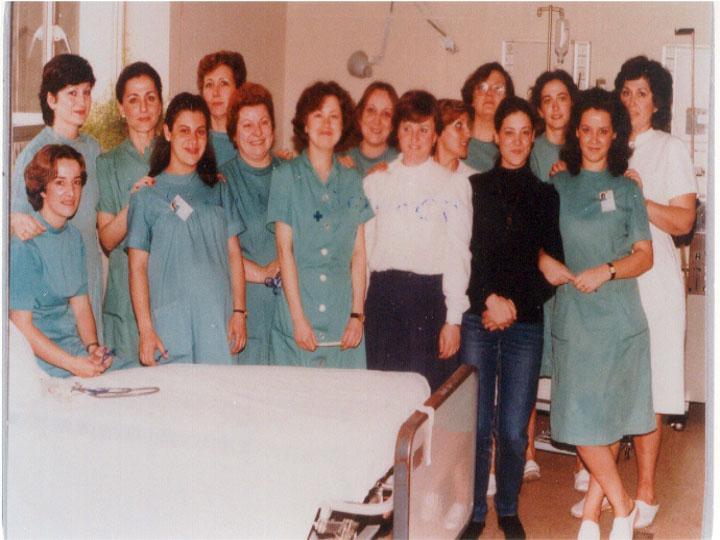 Profesionales de la Unidad de Diálisis. 1985