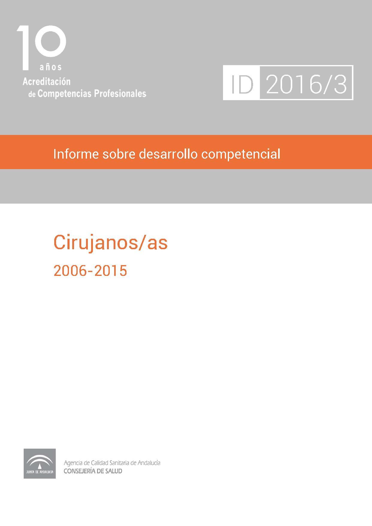 Informe sobre desarrollo competencial: Cirujanos/as