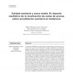 Calidad sanitaria y mass media. El impacto mediático de la localización de notas de prensa sobre acreditación sanitaria en Andalucía