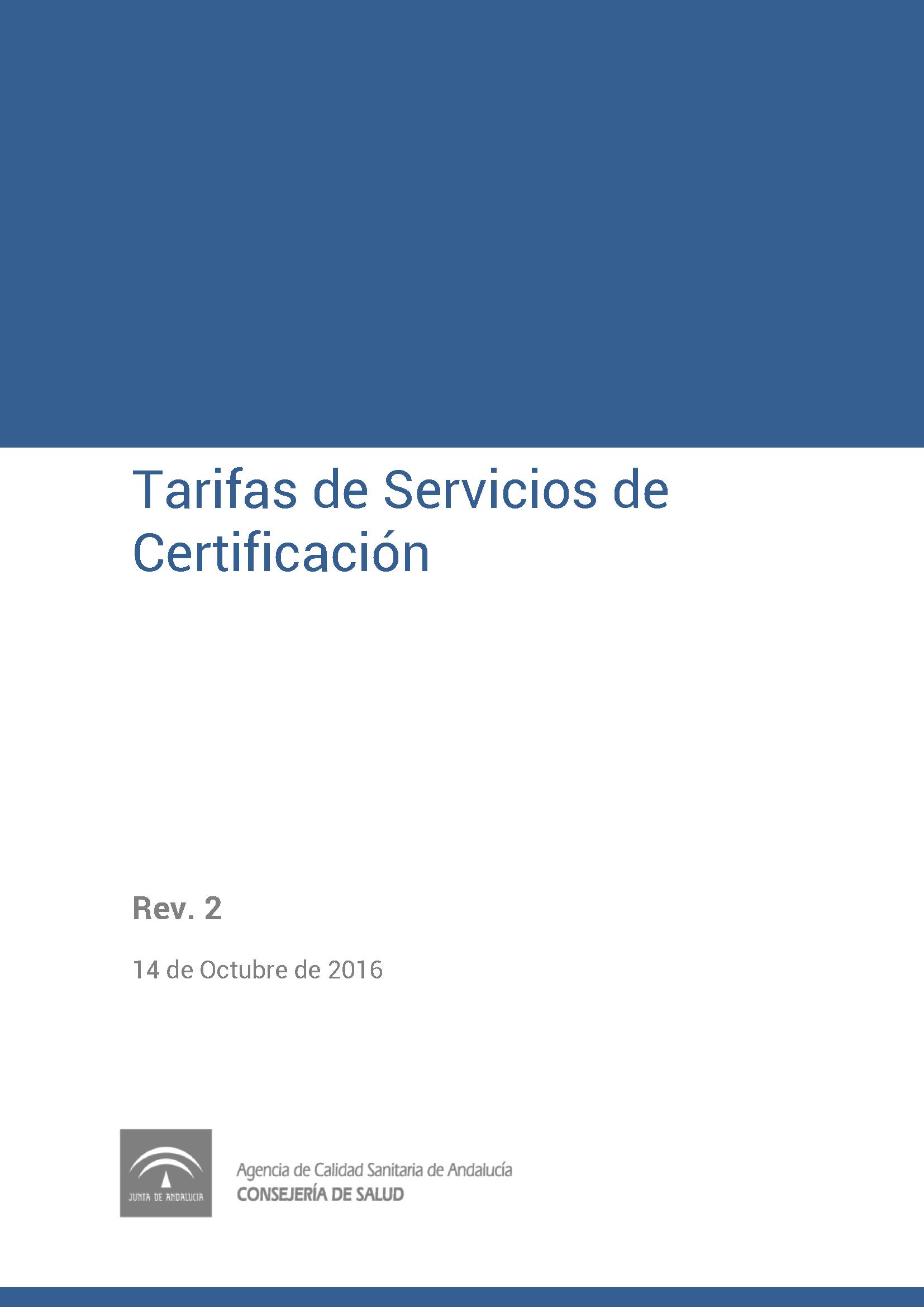 Tarifas de certificación