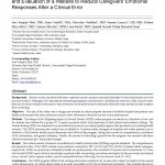 The Second Victim Phenomenon After a Clinical Error: The Design and Evaluation of a Website to Reduce Caregivers' Emotional Responses After a Clinical Error