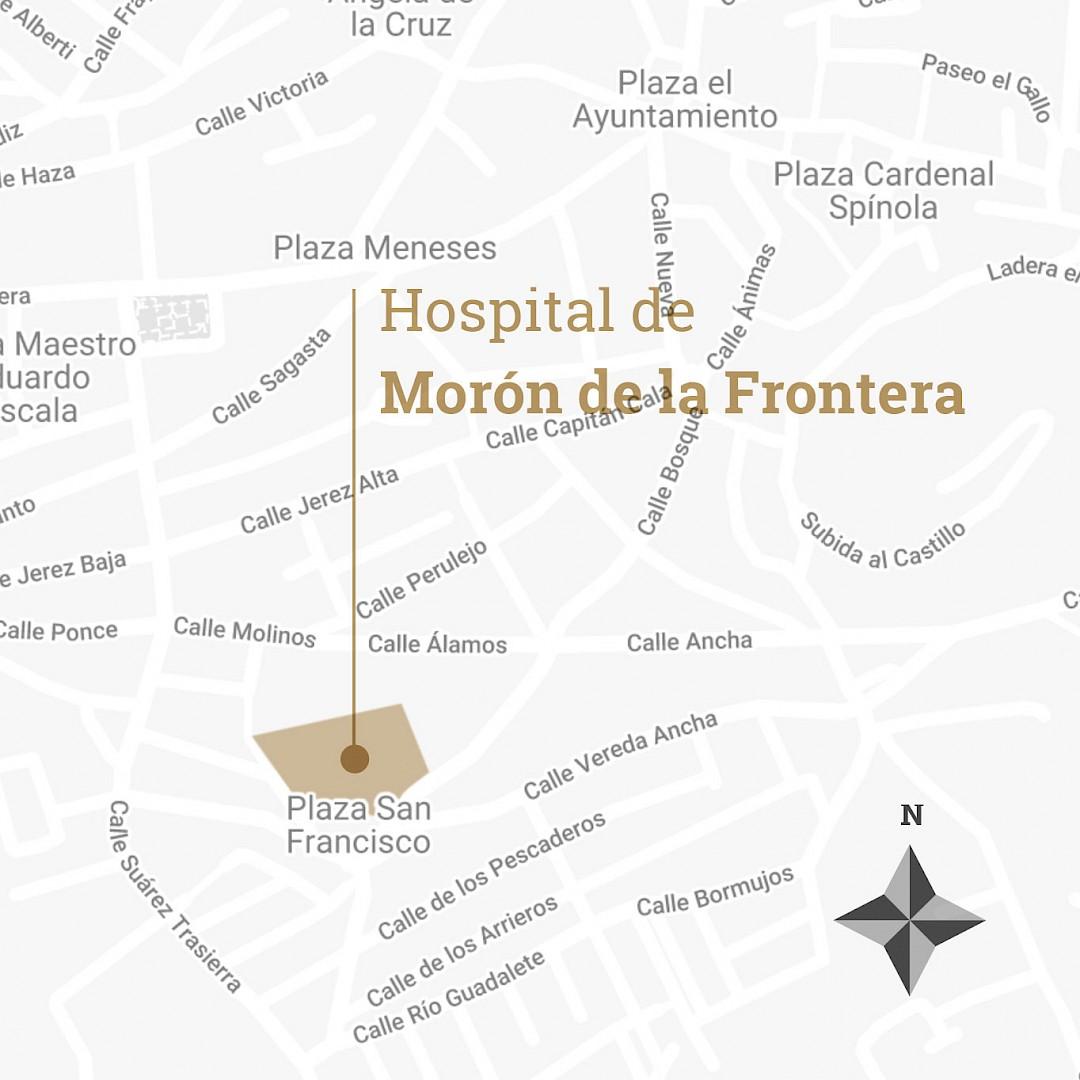 Mapa con la localización del hospital de Morón de la Frontera