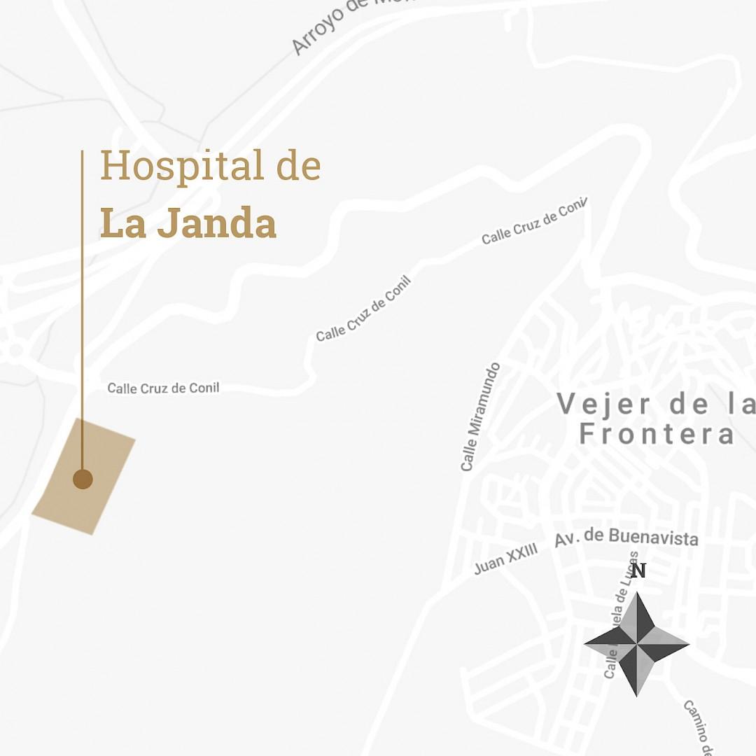 Mapa con la localización del hospital de Utrera