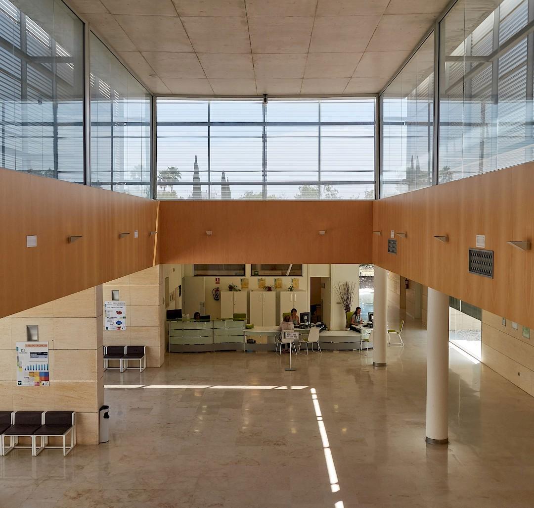 Área de recepción de la sede de la Agencia. Hospital de Utrera.