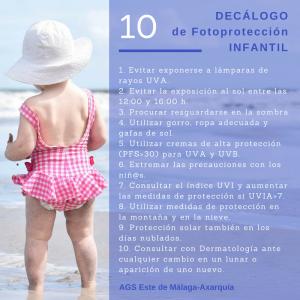 Decálogo de fotoprotección infantil