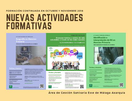 Nuevas actividades formativas previstas en octubre y noviembre de 2018