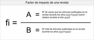 Ecuación para el cálculo del factor de impacto de una revista. fi = A/B. Siendo fi el factor de impacto, A el número de veces que los artículos publicados en la revista durante los años yyyy1/yyyy2 fueron citados durante el año yyyy3 y B el número total de artículos publicados en la revista durante los años yyyy1/yyyy2.
