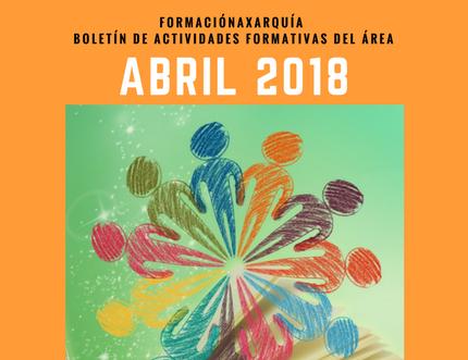 Nuevo boletín de actividades formativas previstas en el Área, FormaciónAxarquía Abril 2018