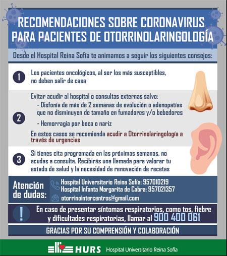 Recomendaciones sobre coronavirus para pacientes de otorrinolaringología