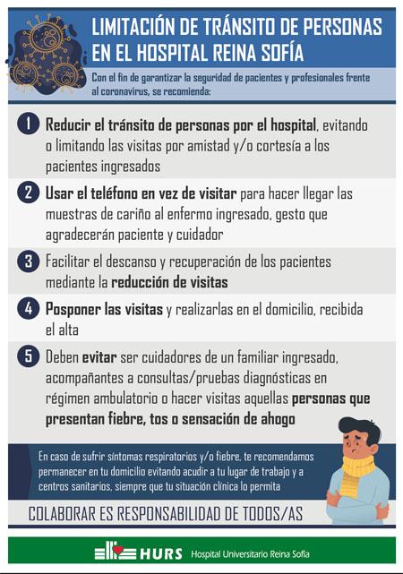 Limitación del tránsito de personas en el Hospital Reina Sofía