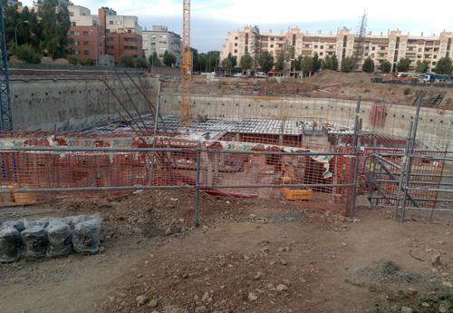 Vista de la construcción de los sótanos