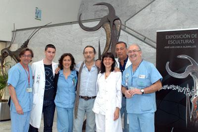 José Luis Checa con sus compañeros de Medicina Nuclear.