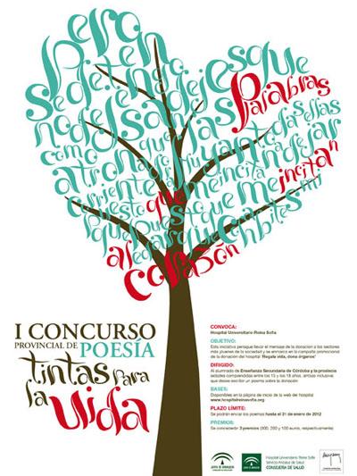 Cartel del I Concurso provincial de poesia 'Tintas para la vida'