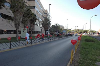 El recinto hospitalario decorado con globos