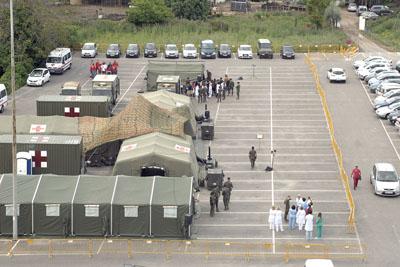 Imagen aérea del PCLA instalado en el hospital