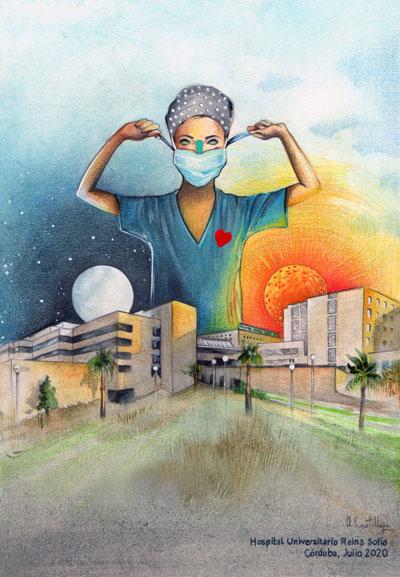 Ilustración agradecimiento sociedad colaboración en pandemia