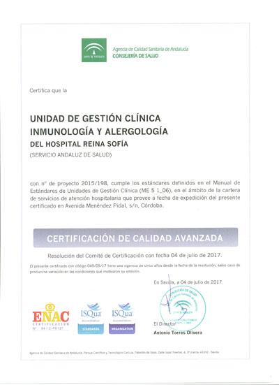 Certificado de acreditación de la UGC