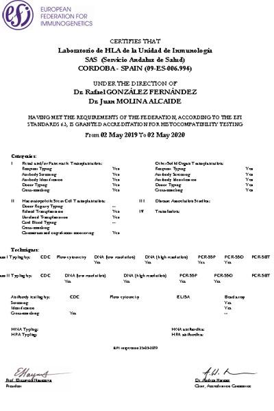 Certificado de Acreditación European Federation for Inmunogenerics