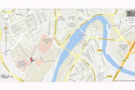 Mapa de la situación del Hospital Universitario Reina Sofía