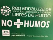 Cartel Red Andaluza de Servicios Sanitarios libre de humos