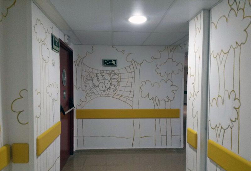 Zona del mural de las arañas