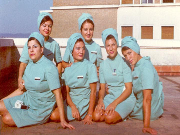 Enfermeras de quirófanos en Noreña. 1975