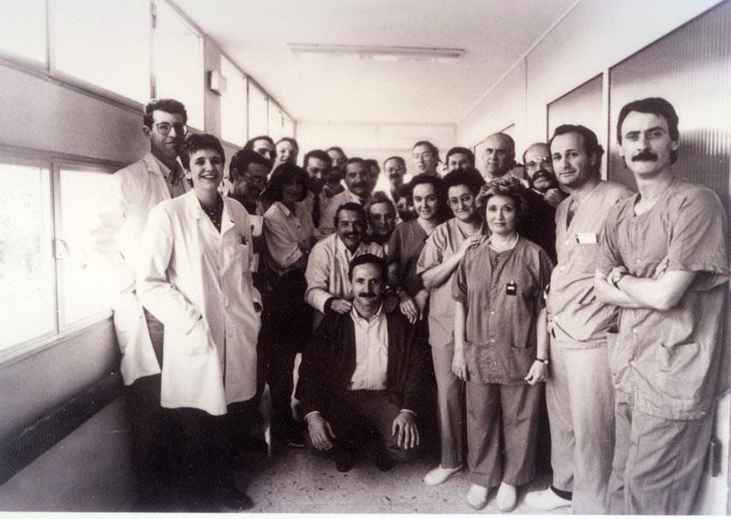 Equipo de profesionales del programa de trasplante cardíaco. 1992