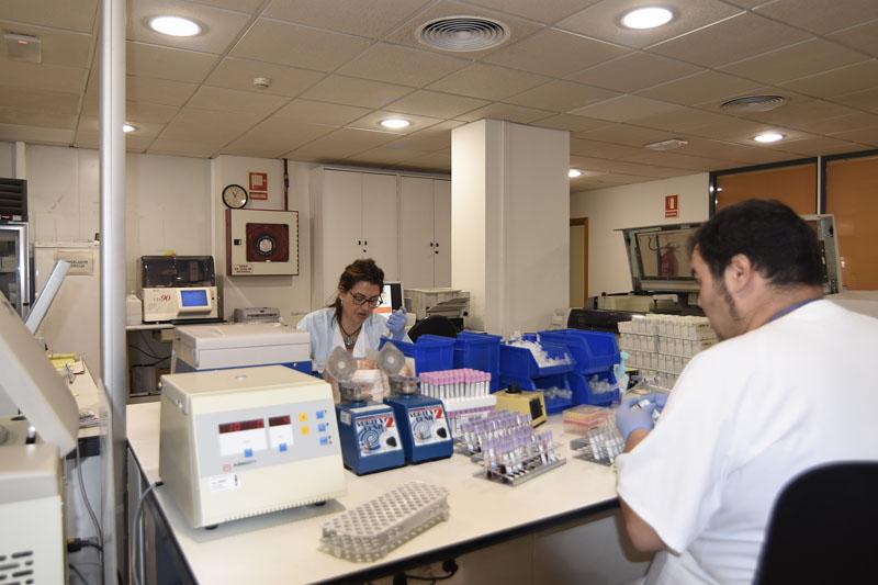 Profesionales del Hospital Reina Sofía trabajan en el laboratorio de Análisis Clí¡nicos